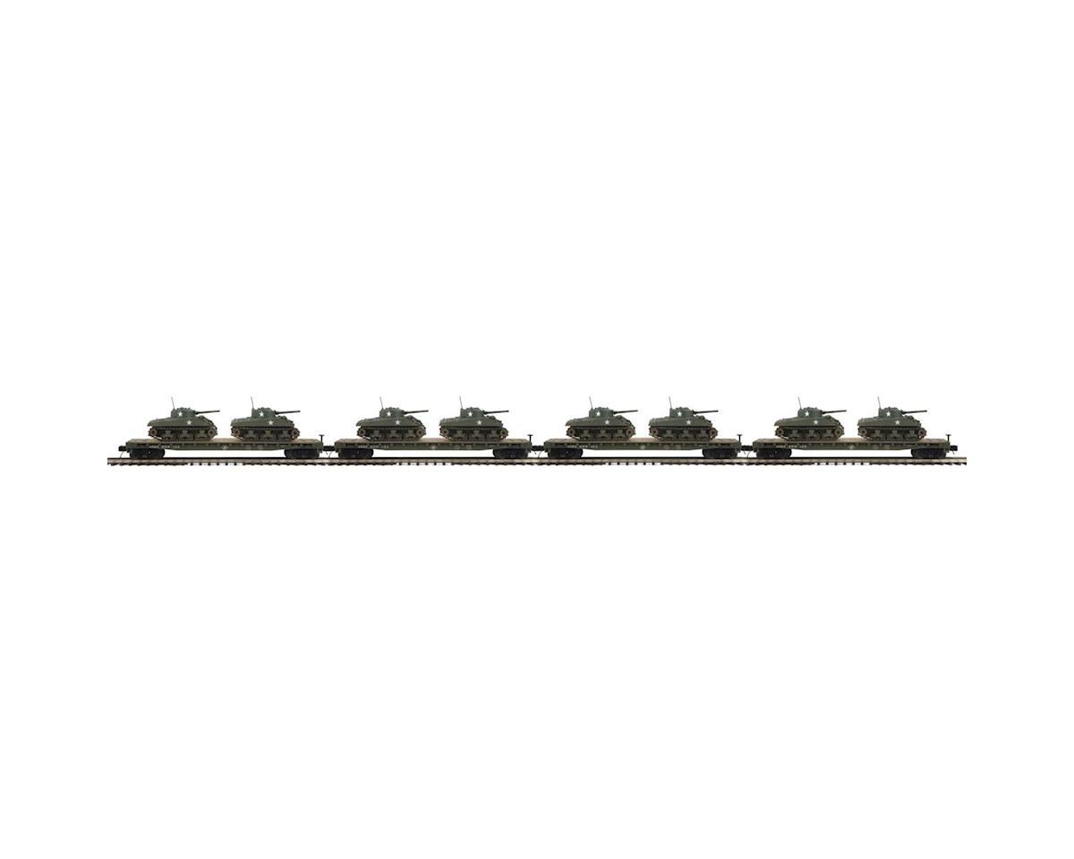 MTH Trains O Flat w/2 Sherman Tanks, US Army #609126 (4)