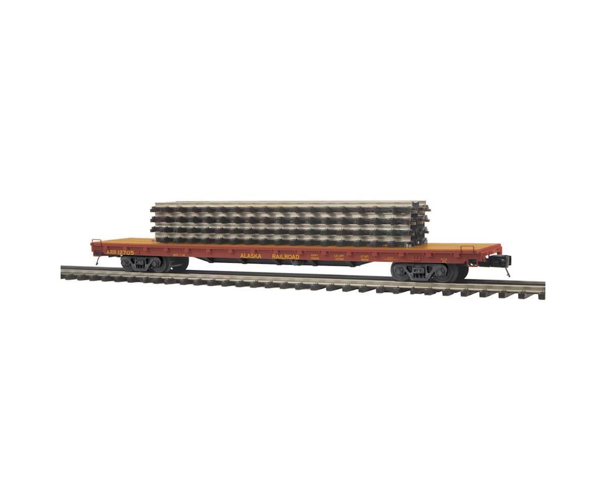 """MTH Trains O 60' Flat w/4 ScaleTrax 10"""" Straights, ARR"""