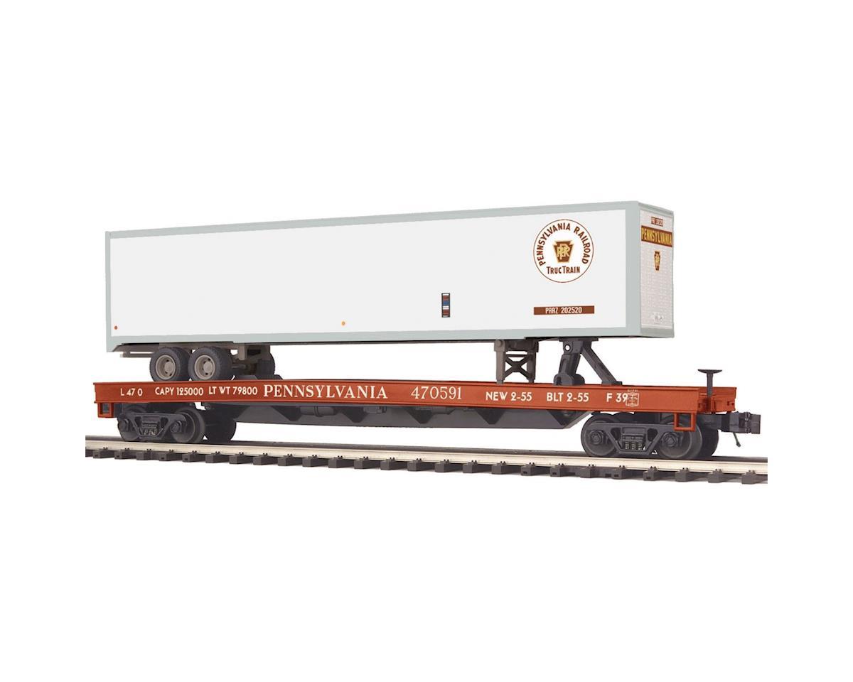 MTH Trains O Flat w/48' Trailer, PRR