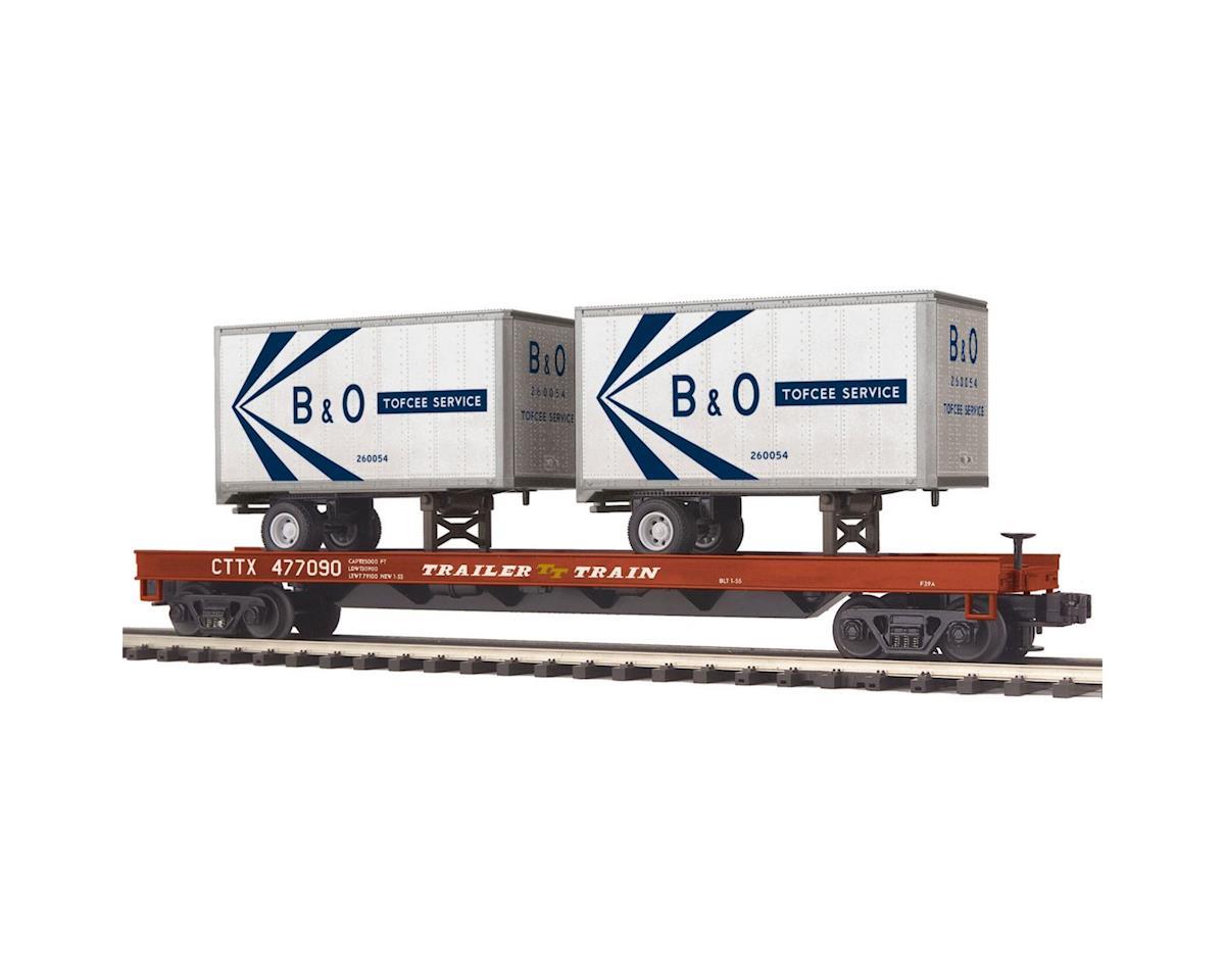 MTH Trains O Flat w/2 20' Trailers, B&O