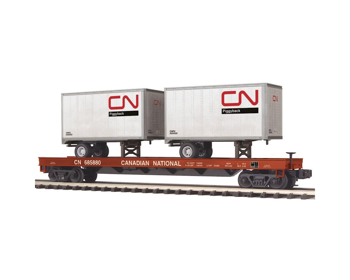 MTH Trains O Flat w/2 20' Trailers, CN