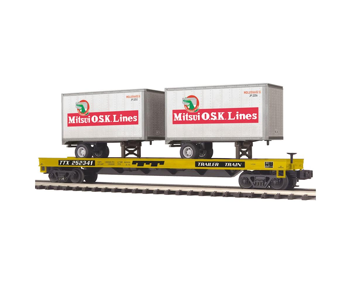 MTH Trains O Flat w/2 20' Trailers, TTX