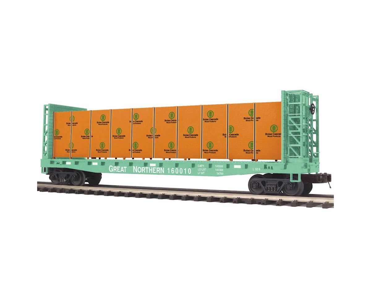 MTH Trains O Bulkhead Flat w/Covered Wood Load, GN