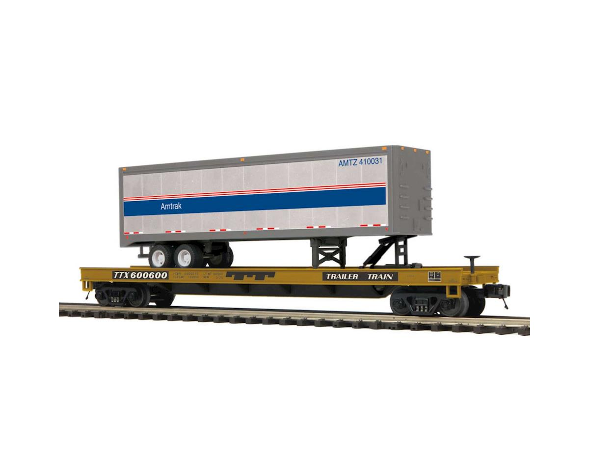 MTH Trains O Flat w/40' Trailer, Amtrak