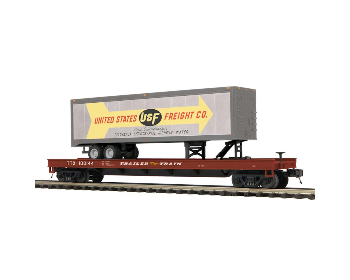 O Flat w/40' Trailer, US Freight by MTH Trains
