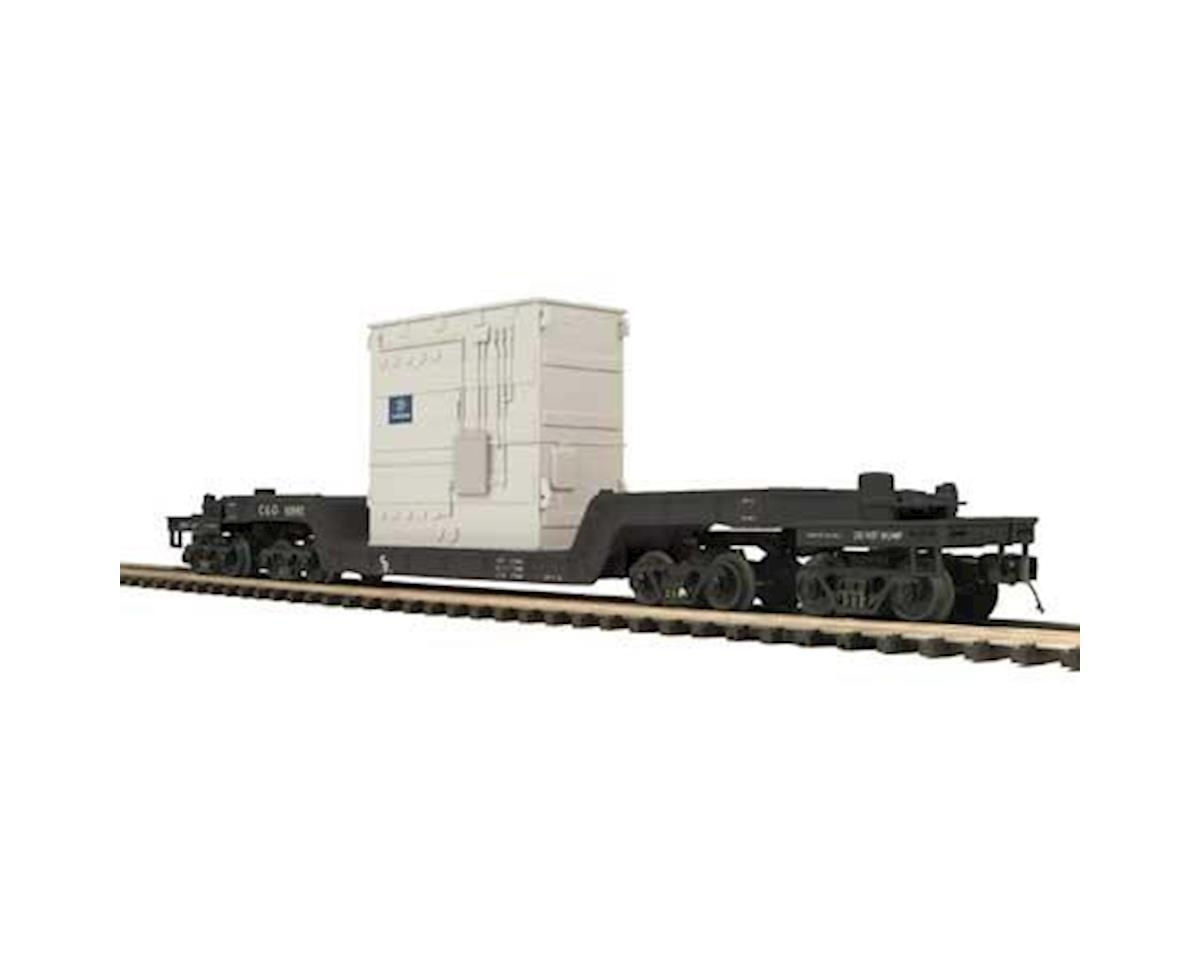 MTH Trains O 75' Depressed Flat w/Transformer, C&O