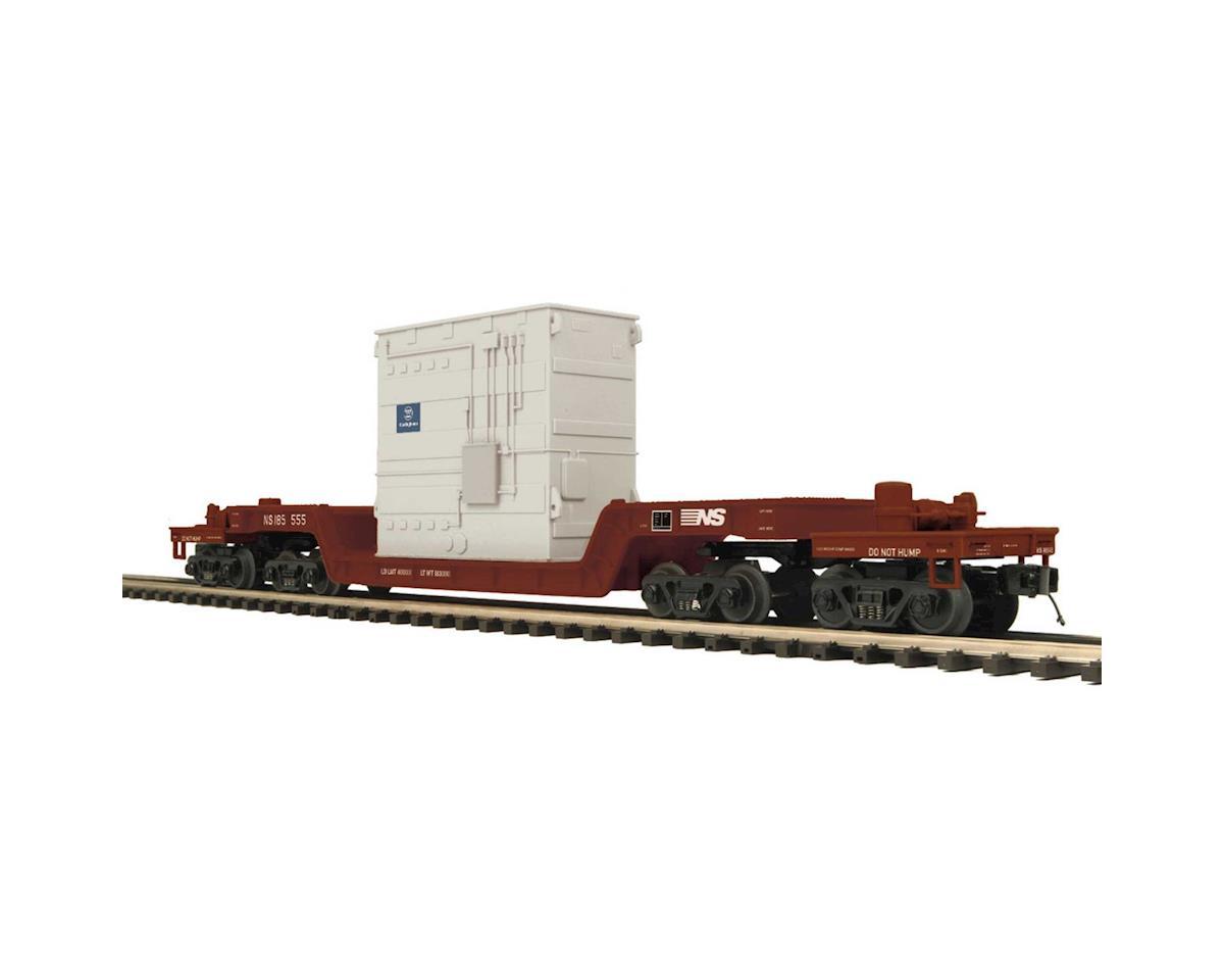 MTH Trains O 75' Depressed Flat w/Transformer, NS
