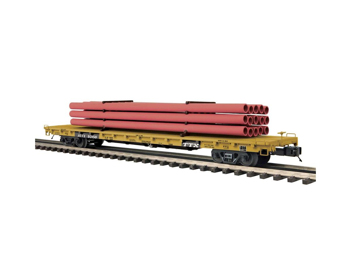 MTH Trains O 60' Flat w/Pipe Load, TTX #93150