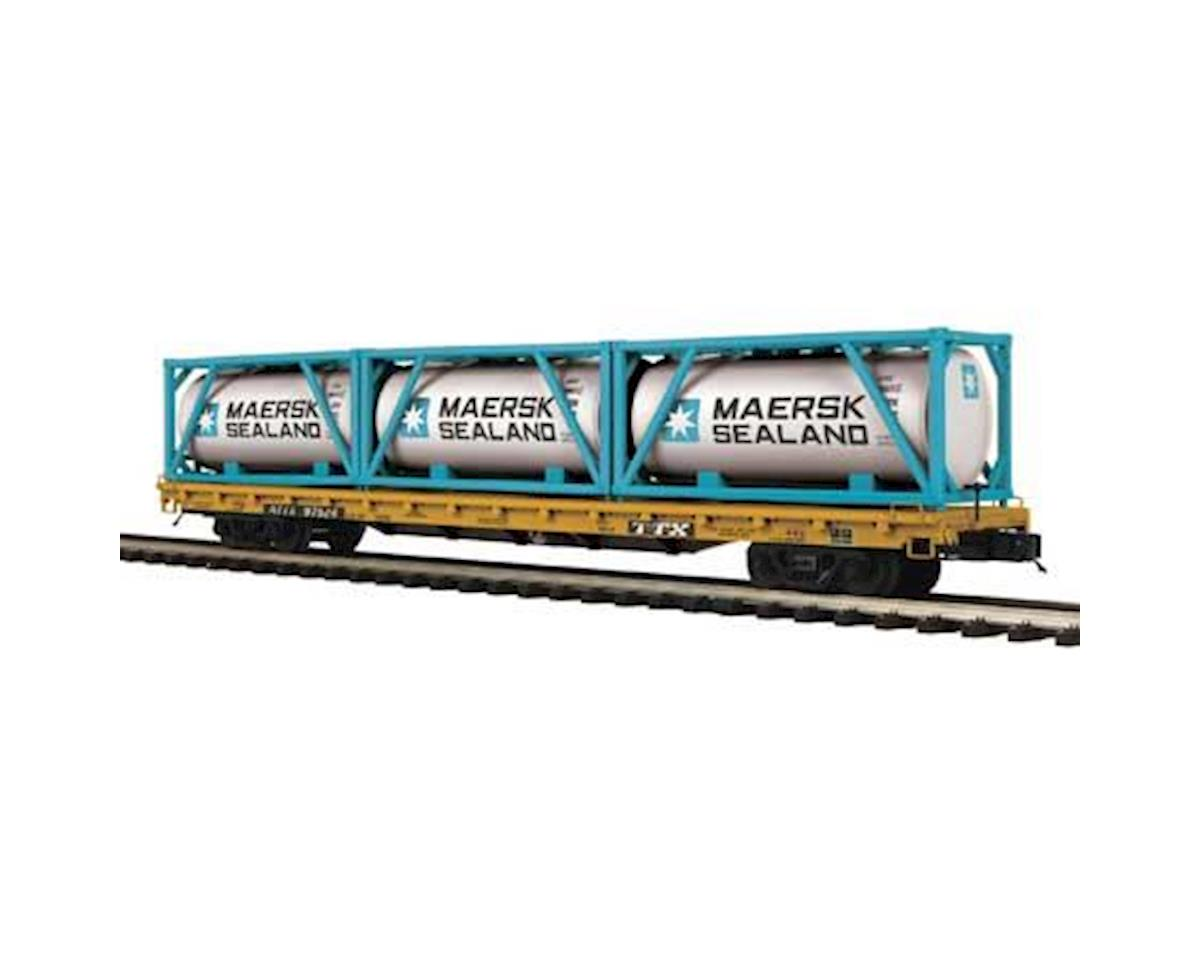 MTH Trains O 60' Flat w/3 Tank Containers, TTX #97524