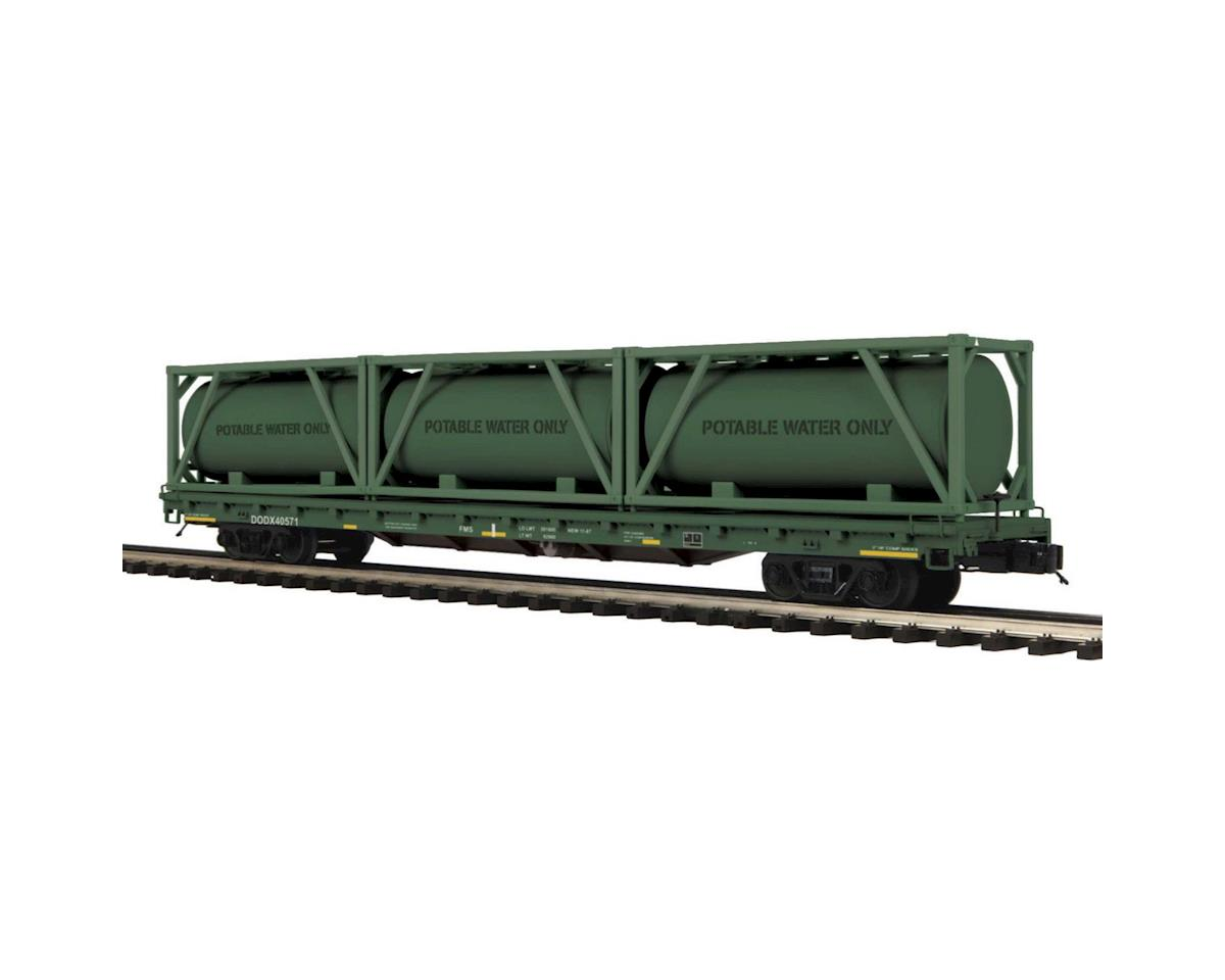 O 60' Flat w/3 Tank Containers, US Army #40571 by MTH Trains