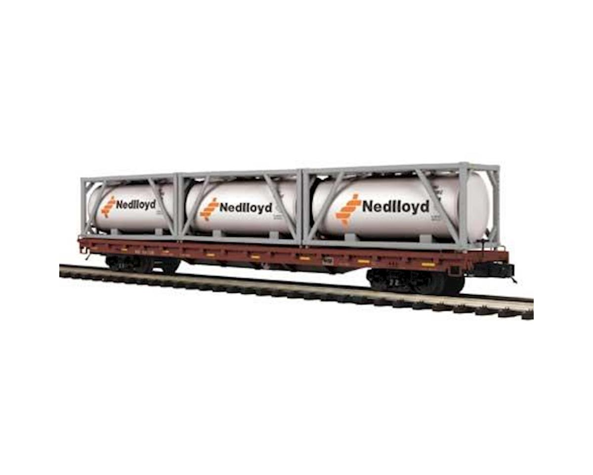 MTH Trains O 60' Flat w/3 Tank Containers, NS #101126