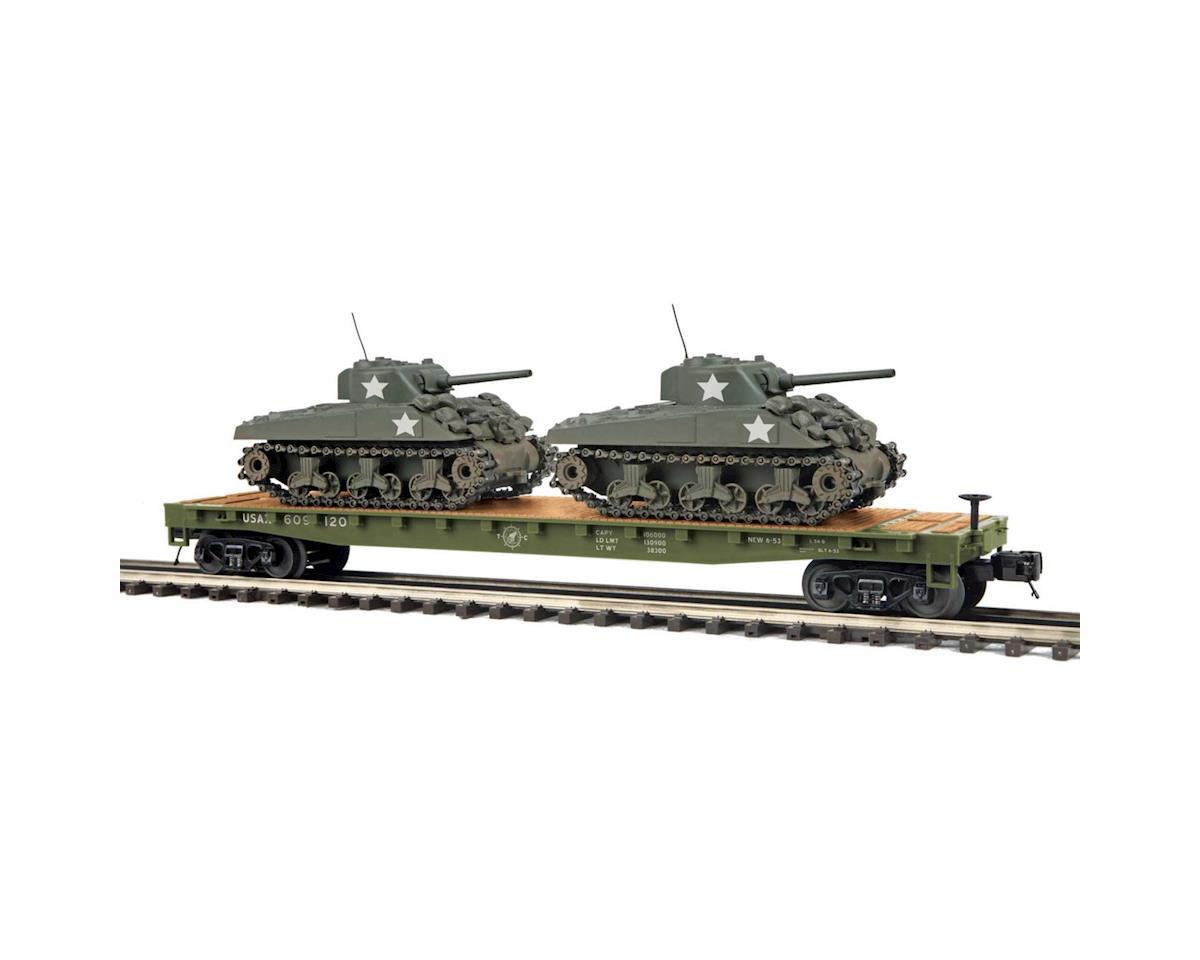 MTH Trains O Flat w/2 Sherman Tanks, US Army #609120