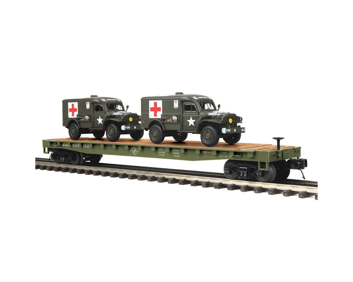MTH Trains O Flat w/2 Dodge WC54 Ambulances, US Army #609152