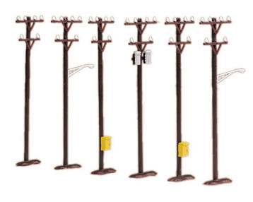 M.t.h. Electric Trains M.T.H. RailKing O-Scale Telephone Pole Set (6)