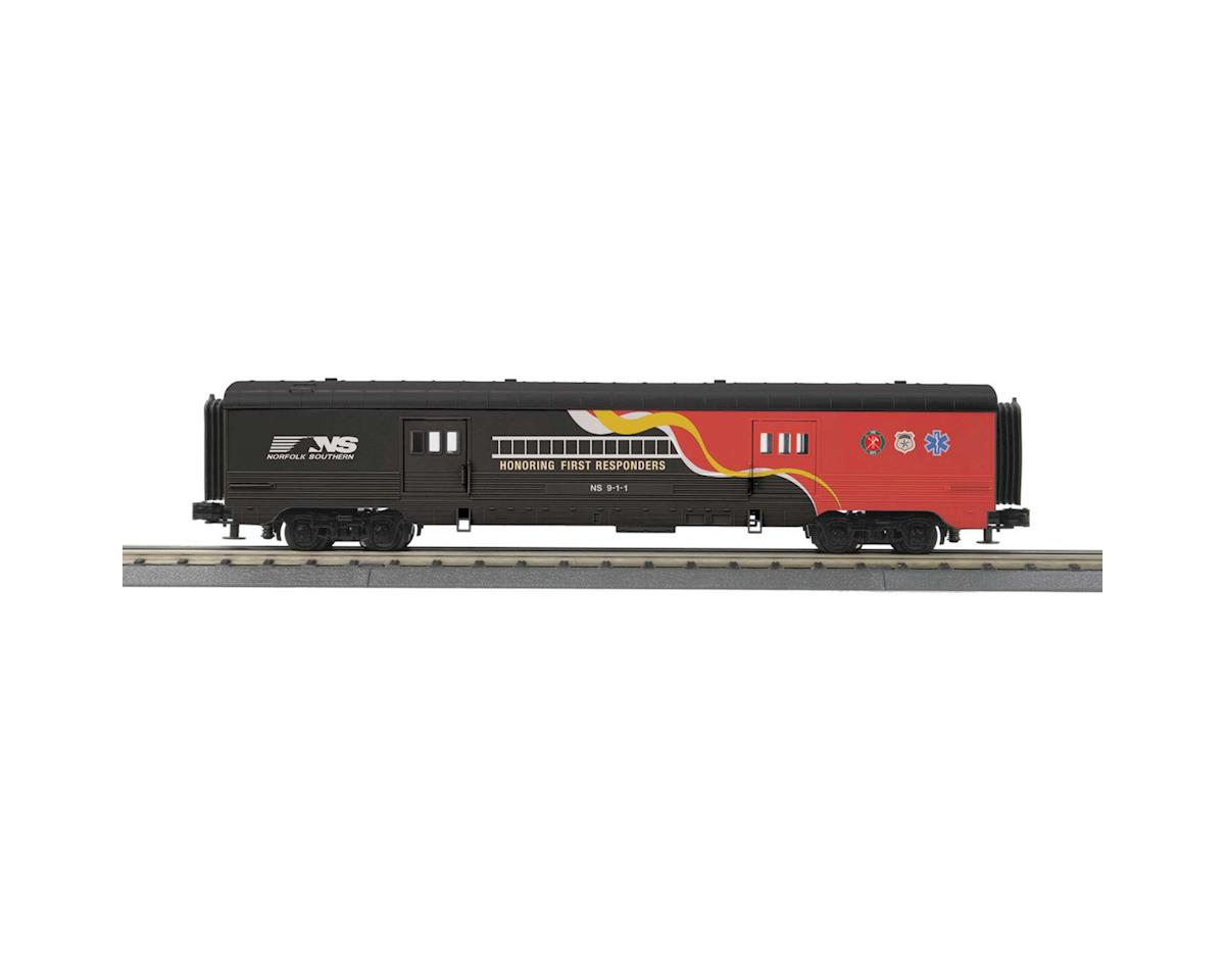 MTH Trains O-27 60' Streamlined Baggage, NS/First Responder