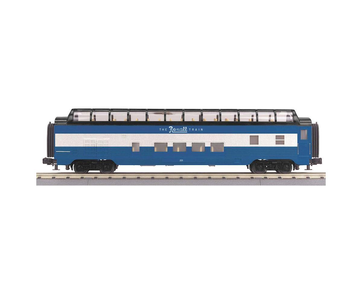 MTH Trains O-27 60' Streamlined Full Vista Dome, Rexall