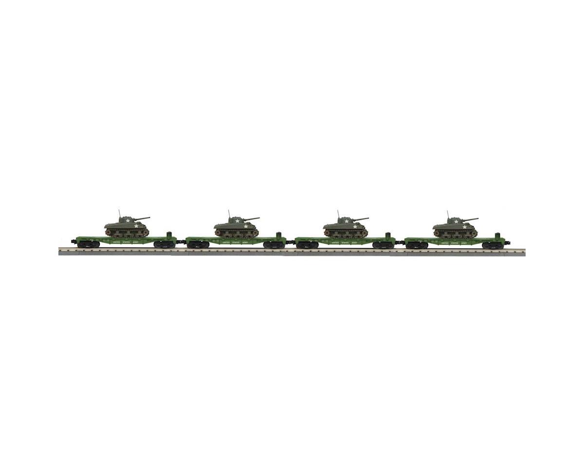 MTH Trains O-27 Flat w/Sherman Tank, US Army (4)
