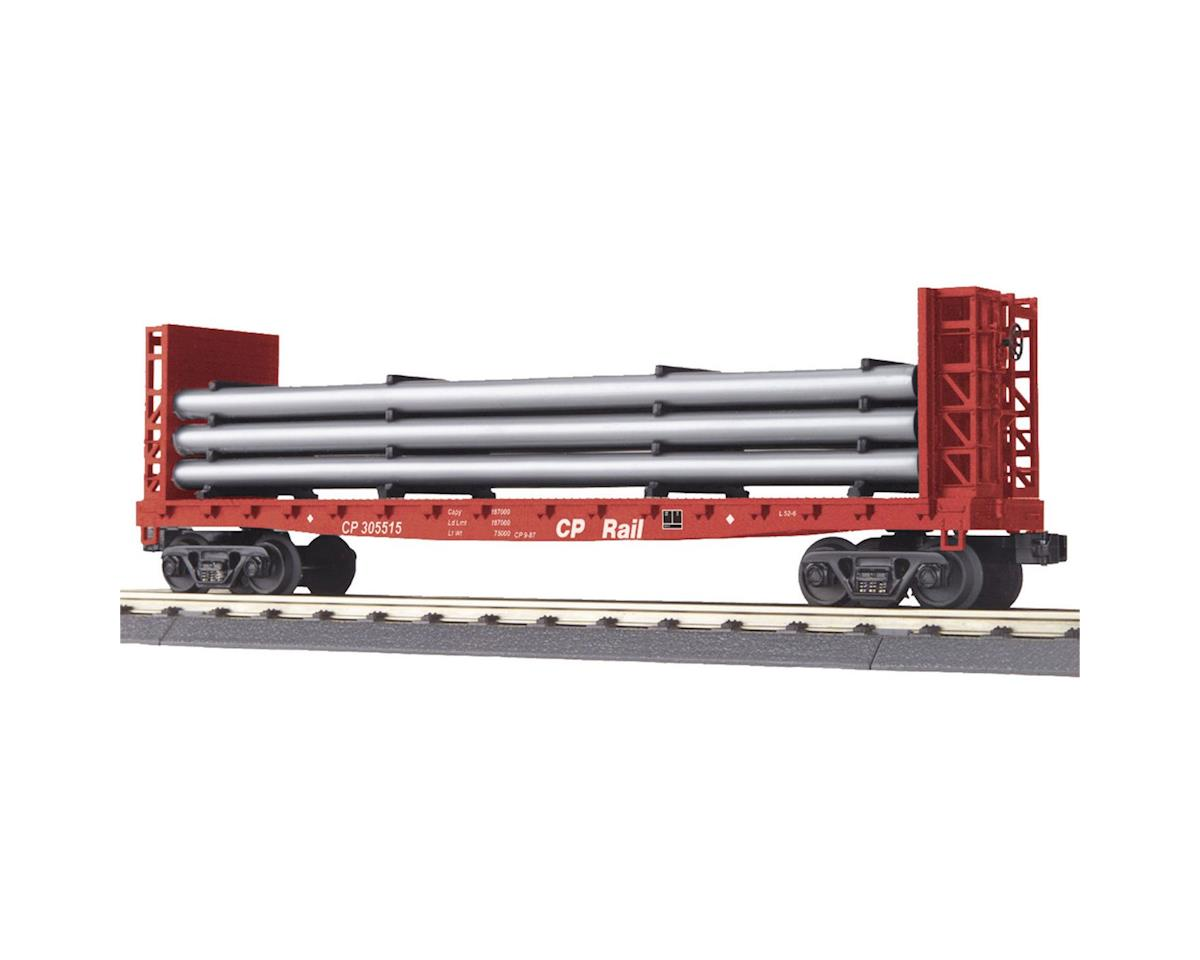 MTH Trains O-27 Bulkhead Flat w/Pipe Load, CPR