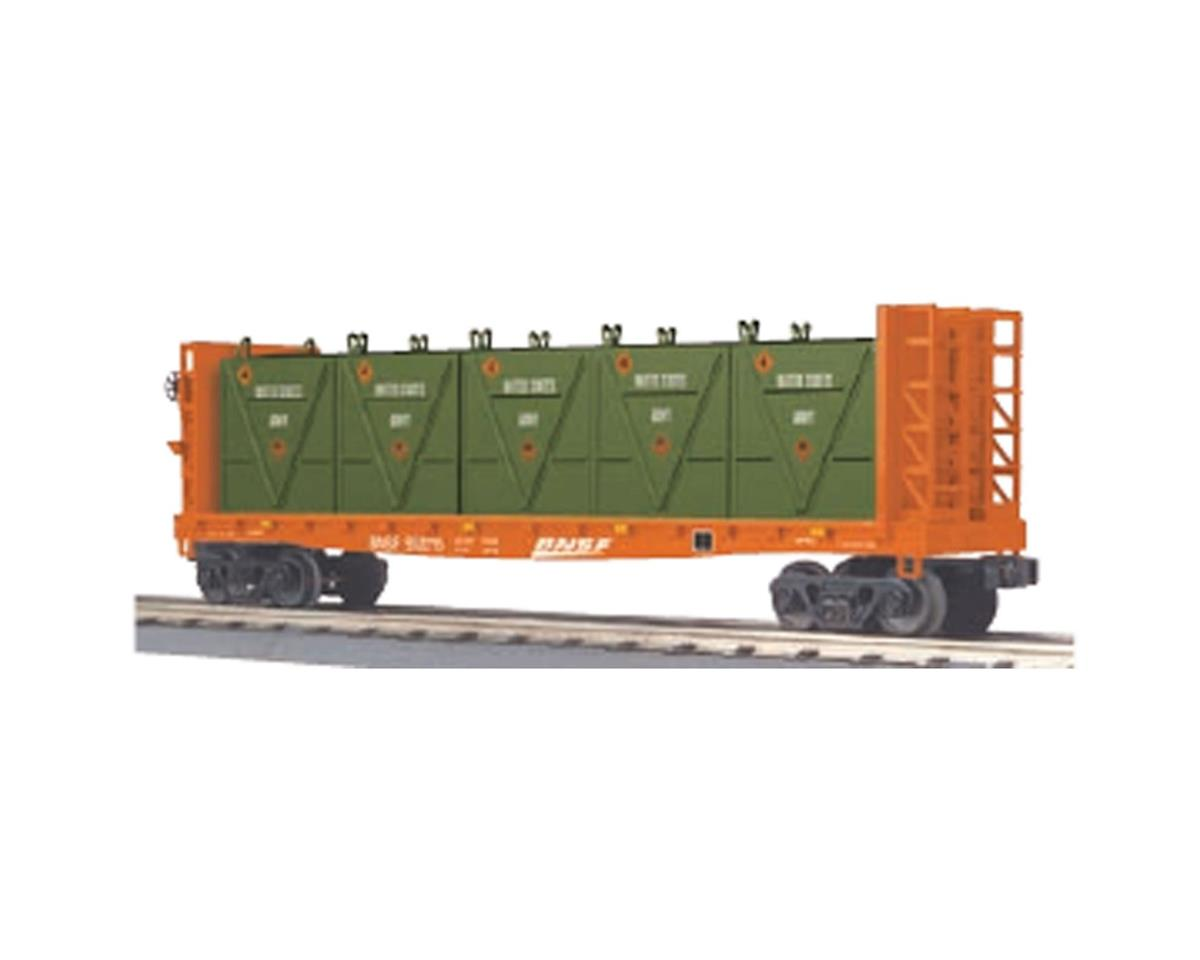 MTH Trains O-27 Flat w/ Bulkheads & LCL Containers, BNSF