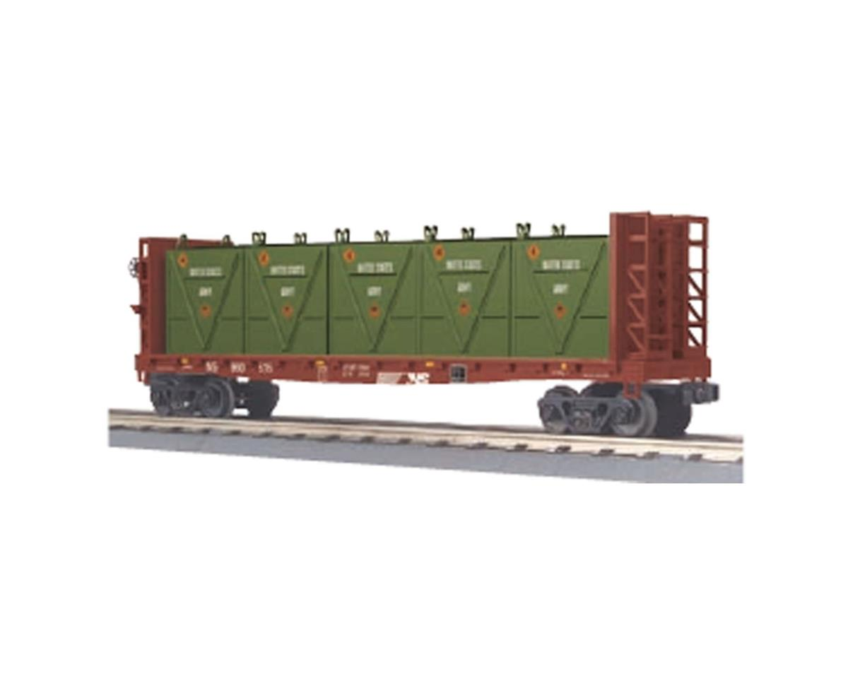 MTH Trains O-27 Flat w/ Bulkheads & LCL Containers, NS