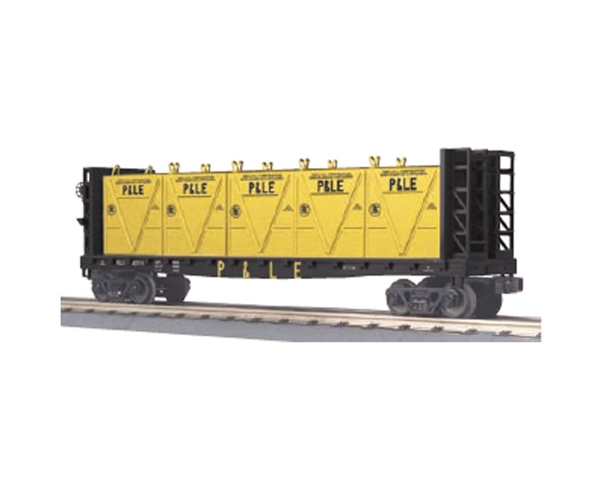 MTH Trains O-27 Flat w/ Bulkheads & LCL Containers, P&LE