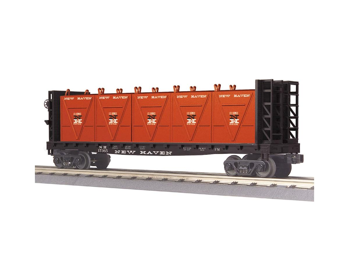 MTH Trains O-27 Flat w/ Bulkheads & LCL Containers, NH