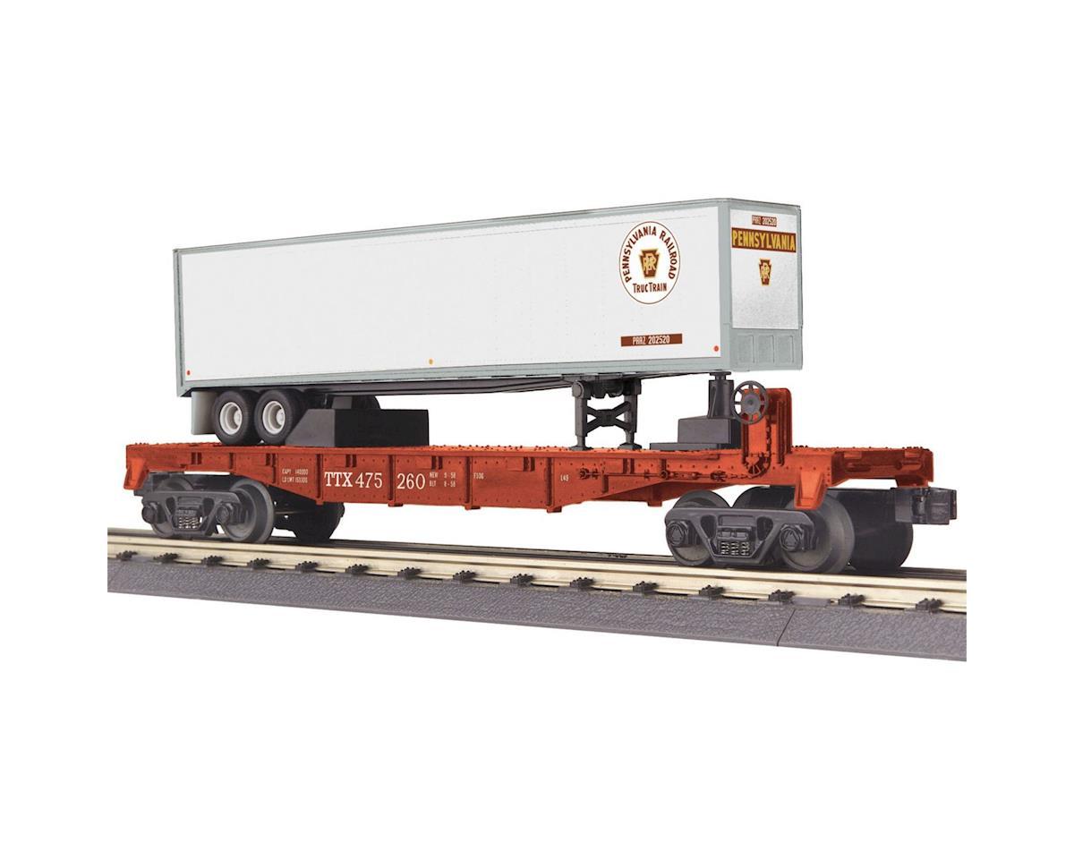 MTH Trains O-27 Flat w/40' Trailer, PRR