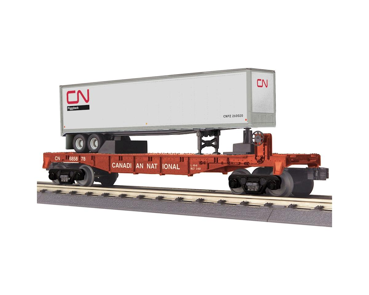 MTH Trains O-27 Flat w/40' Trailer, CN