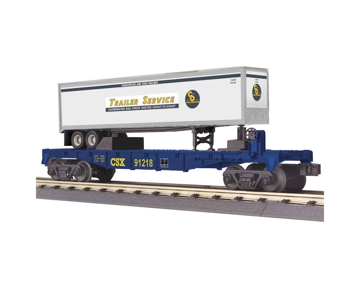 MTH Trains O-27 Flat w/40' Trailer, CSX
