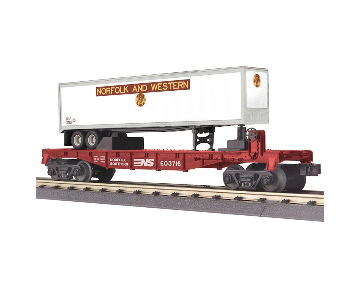 MTH Trains O-27 Flat w/40' Trailer, NS