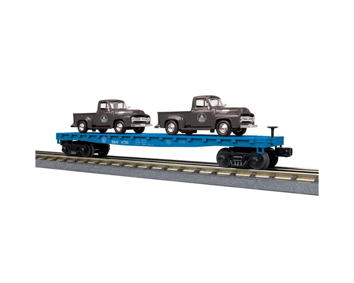 MTH Trains O-27 Flat w/2 '53 Ford Pickups, B&O