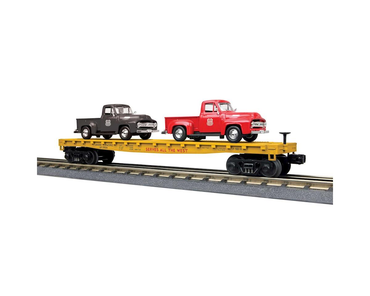 MTH Trains O-27 Flat w/2 '53 Ford Pickups, UP