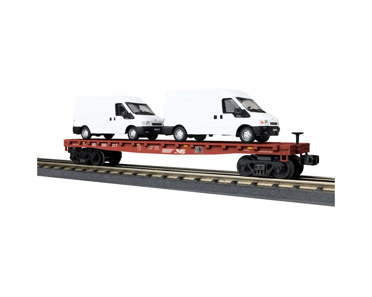 MTH Trains O-27 Flat w/2 'Ford Transit Vans, NS