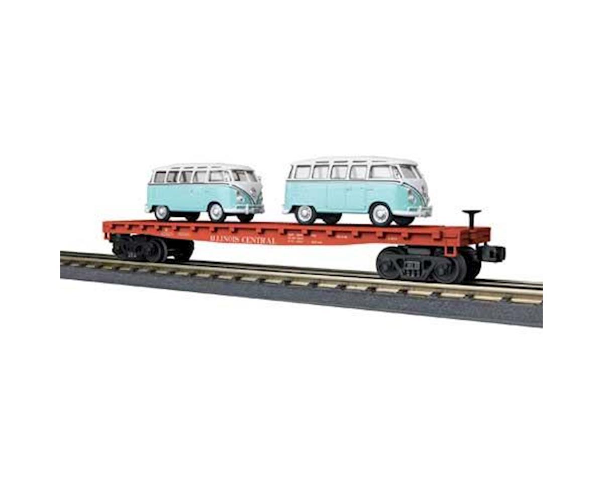 O-27 Flat w/2 'VW Bus, IC by MTH Trains
