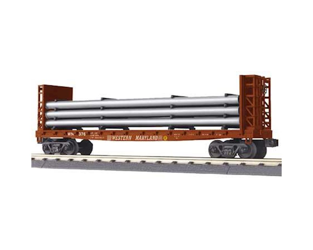 O-27 Flat w/Bulkheads & Pipe Load, WM by MTH Trains
