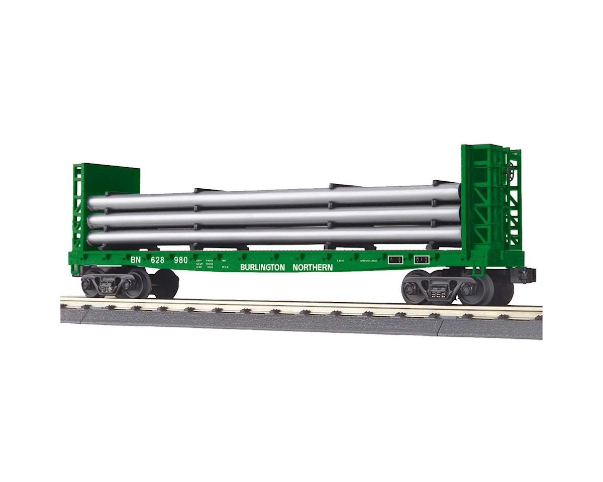 MTH Trains O-27 Flat w/Bulkheads & Pipe Load, BN