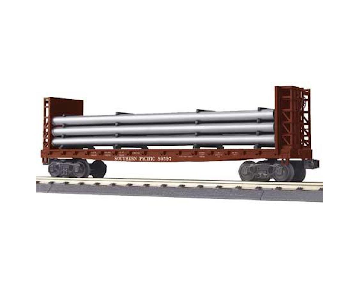 MTH Trains O-27 Flat w/Bulkheads & Pipe Load, SP