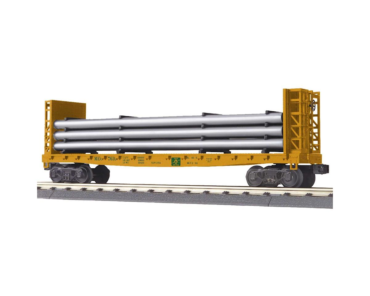 MTH Trains O-27 Flat w/Bulkheads & Pipe Load, MEC