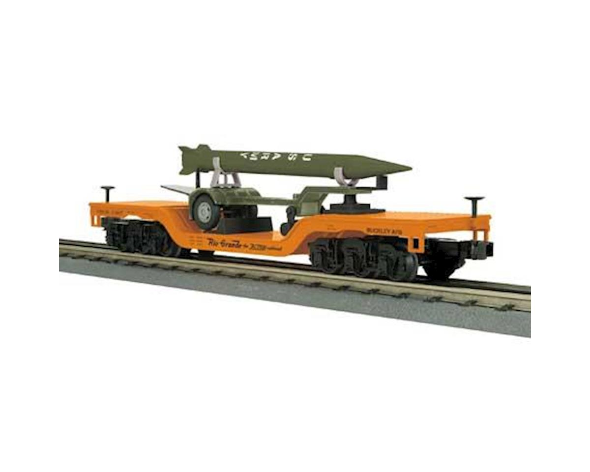 MTH Trains O-27 Depressed Center Flat w/Rocket Load, D&RGW