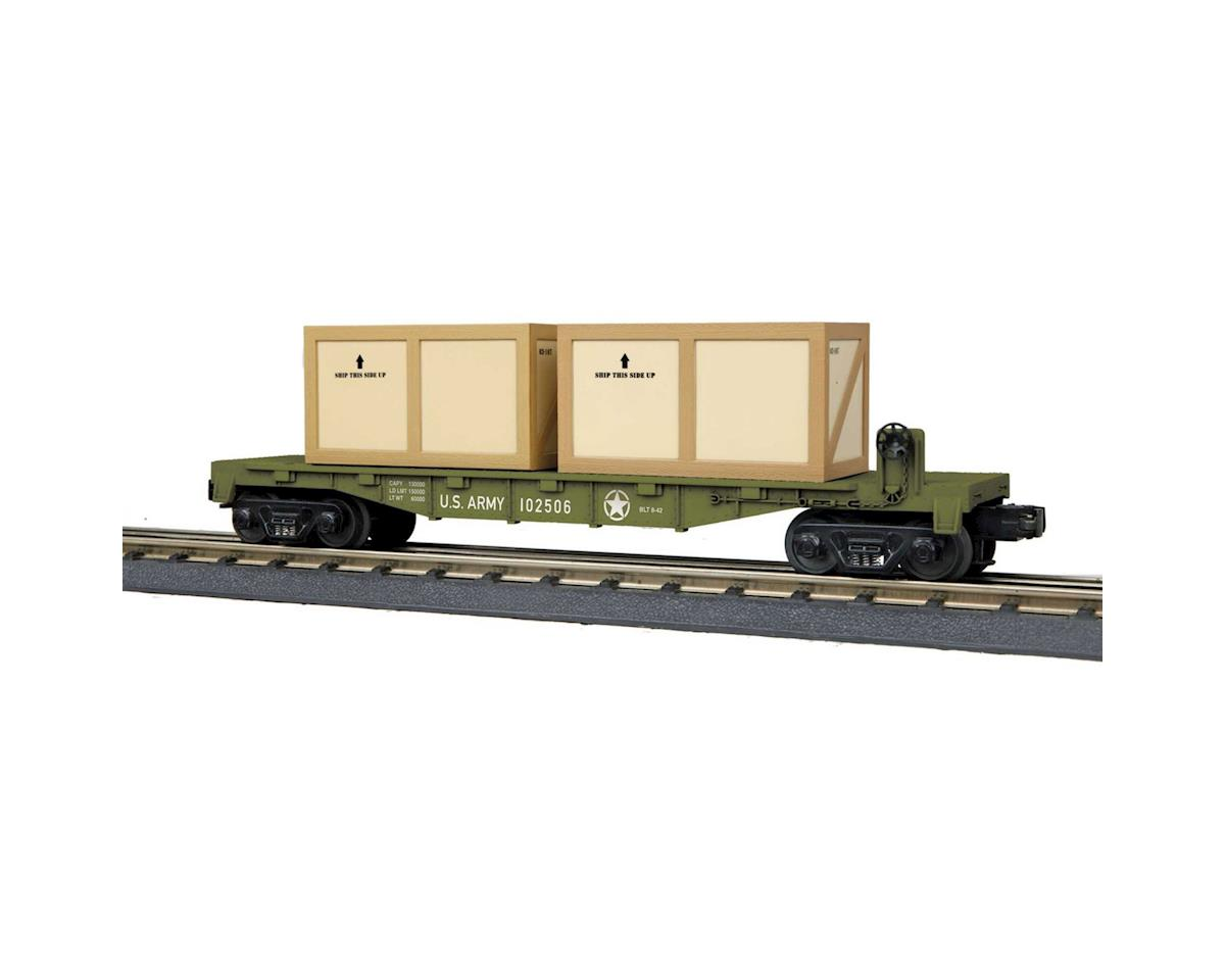 MTH Trains O-27 Flat w/2 Crates, US Army