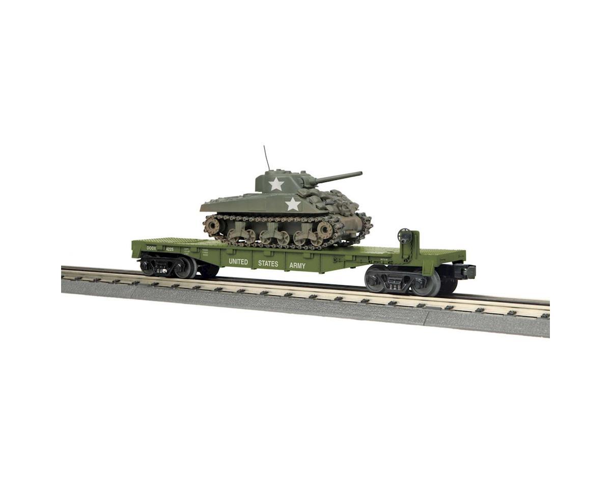 MTH Trains O-27 Flat w/Sherman Tank, US Army #4225