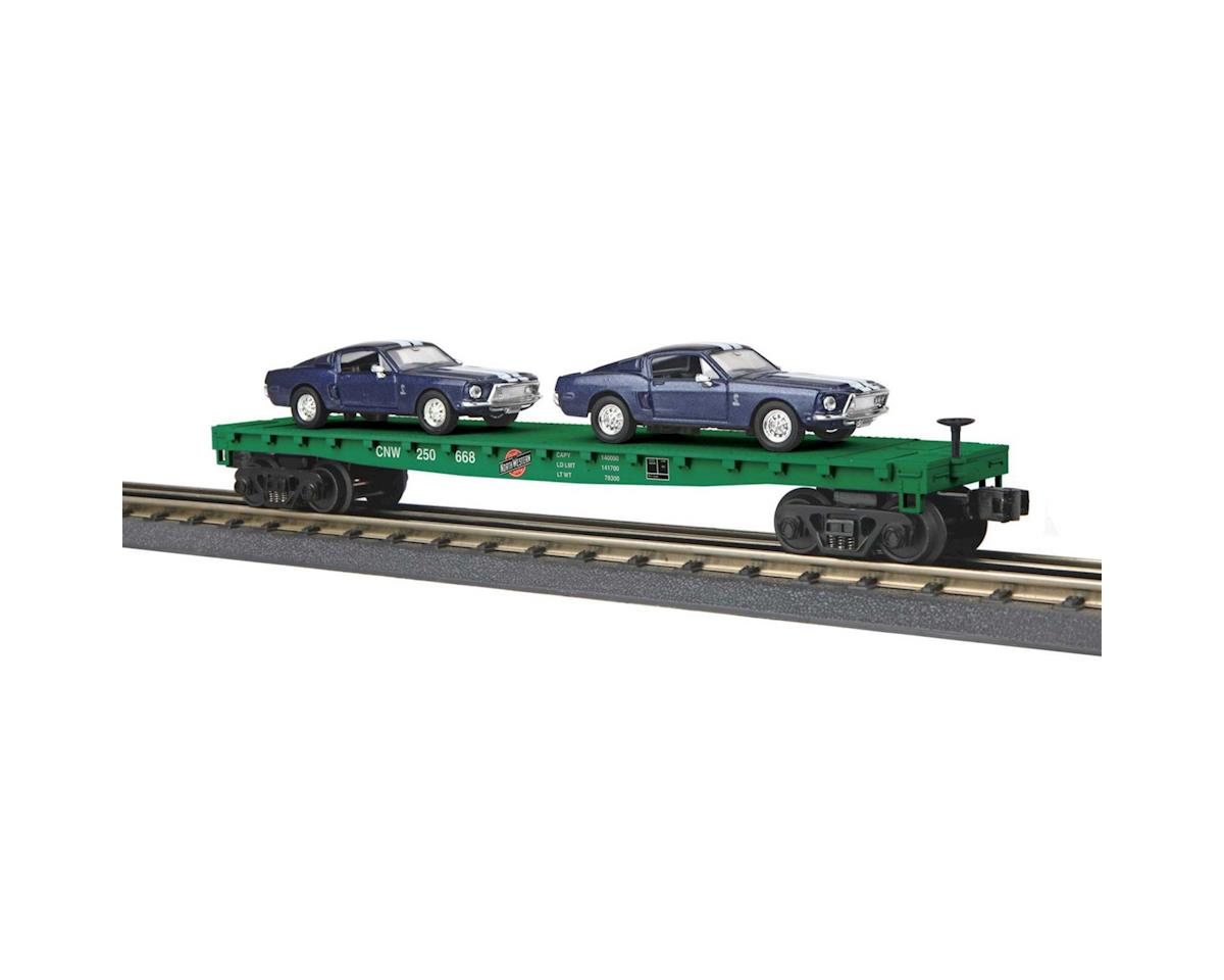 MTH Trains O-27 Flat w/ 2 '68 Shelby GT Mustangs,C&NW #250668