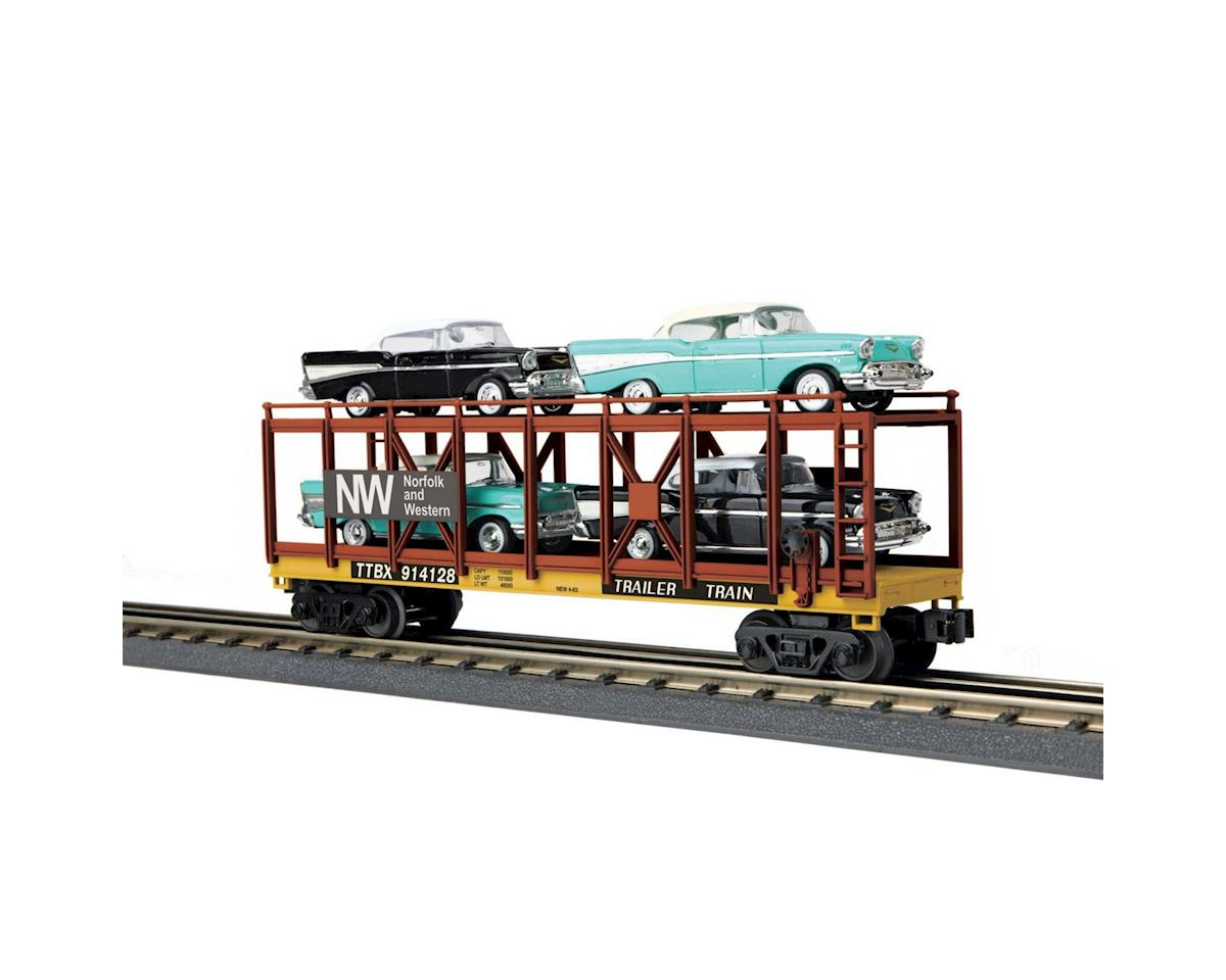 MTH Trains O-27 Auto Carrier Flat w/4 '57 Bel Air,N&W #914128