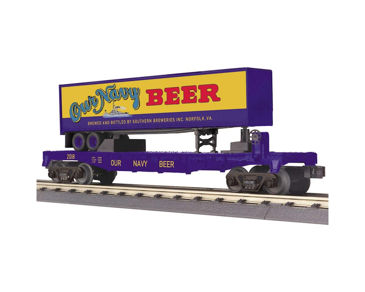 MTH Trains O-27 Flat w/40' Trailer, Our Navy Beer #2018