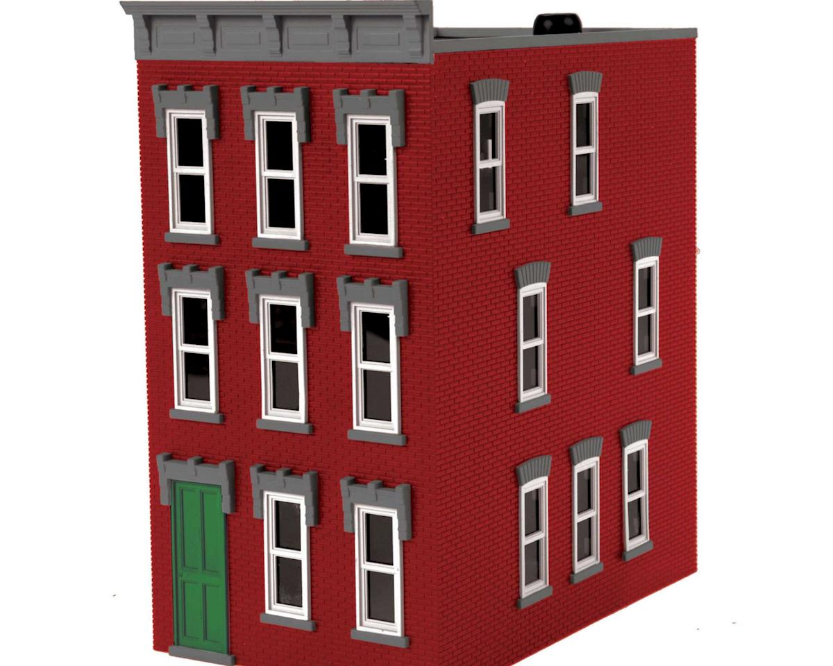 MTH Trains O 3-Story Town House #3, Red/Gray