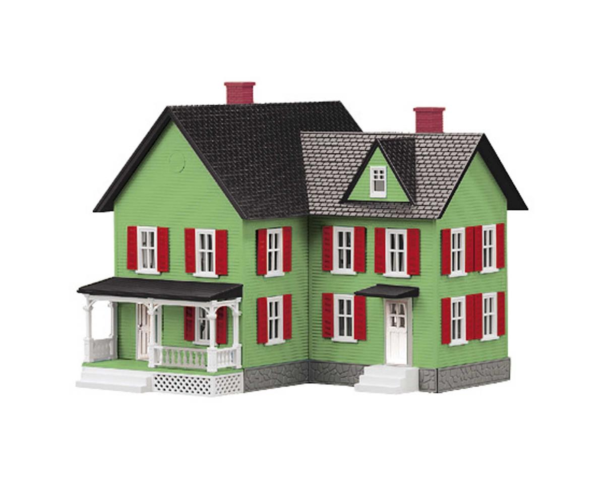 MTH Trains O #6 Farm House, Light Green/Rd
