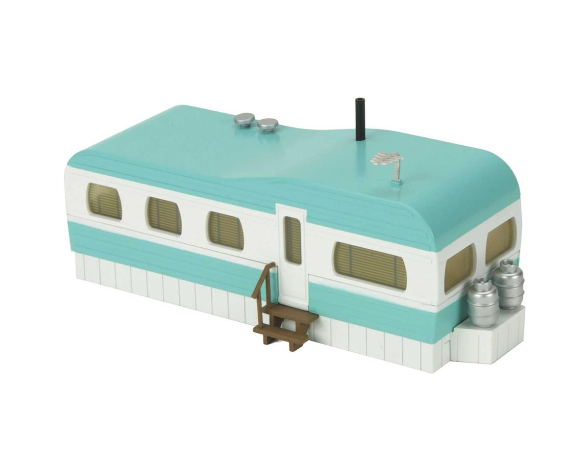 MTH Trains O Stainless Mobile Home,Turquoise/White