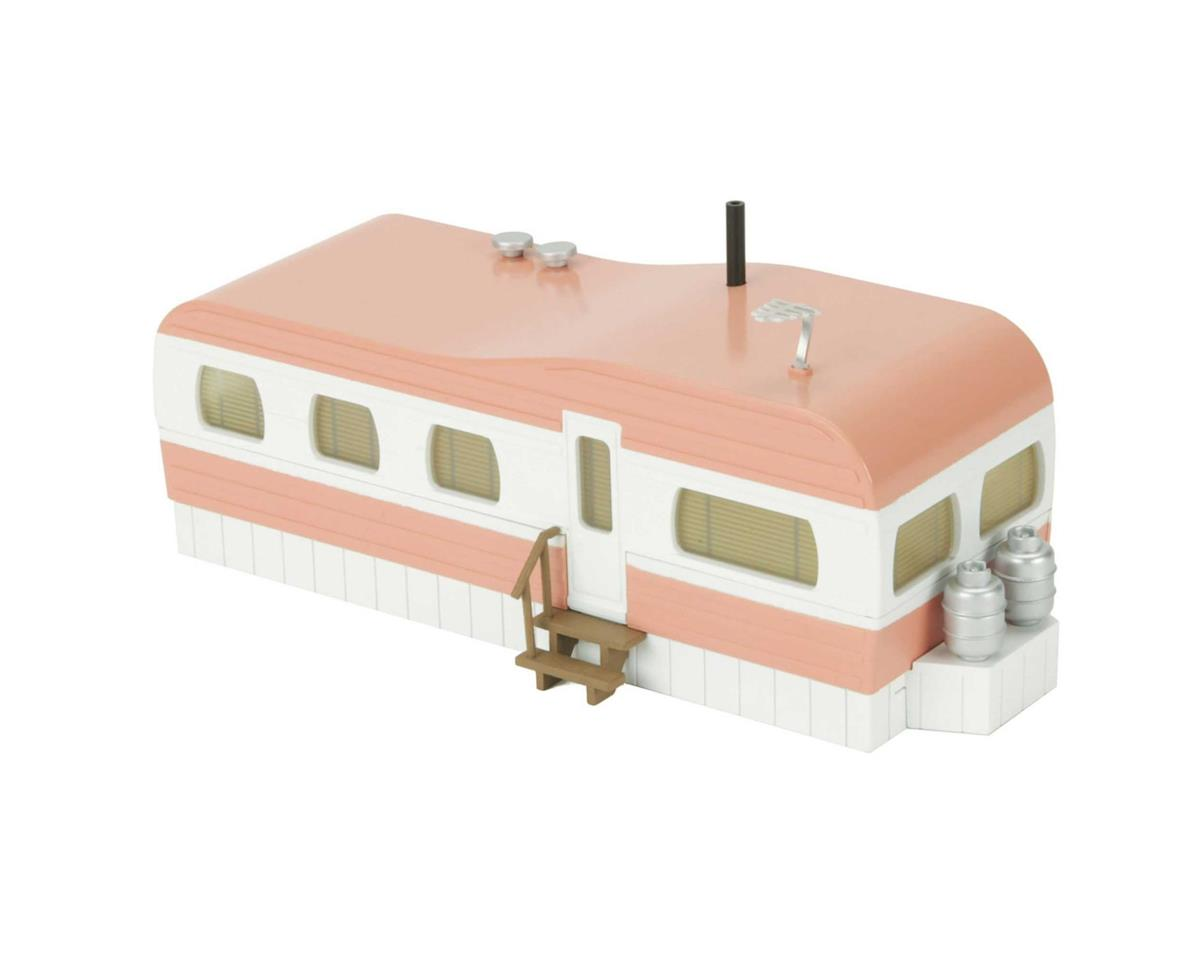 MTH Trains O Stainless Mobile Home, Salmon/White