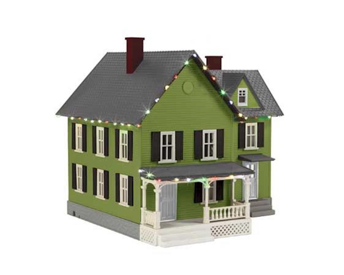 MTH Trains O #6 Farm House w/Operating Christmas Lights,Green