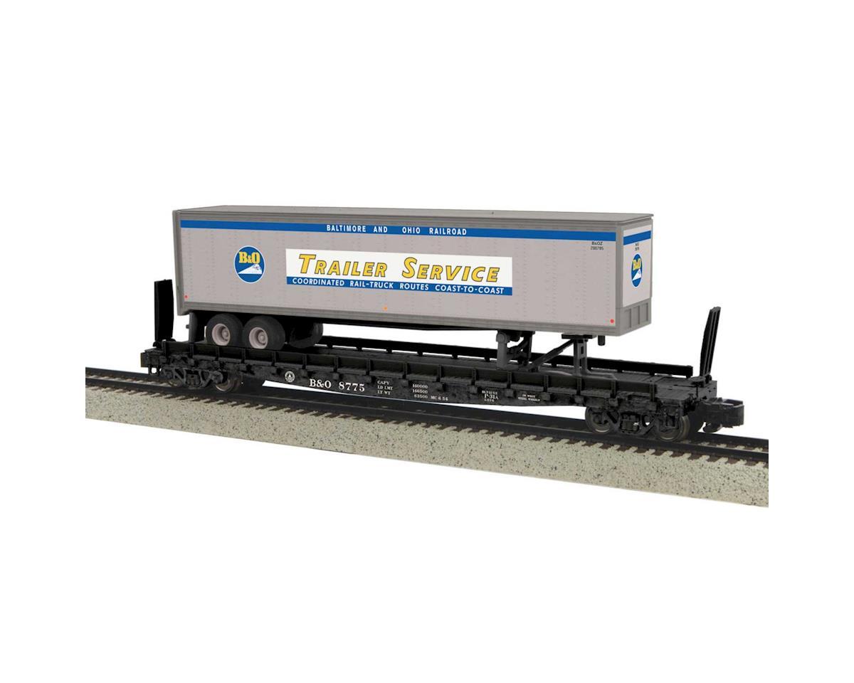 MTH Trains S Flat w/48' Trailer, B&O #8775